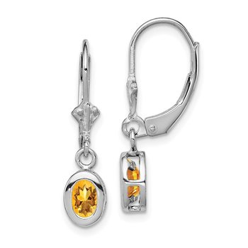 Sterling Silver Rhodium 6x4mm Oval Citrine Leverback Earrings