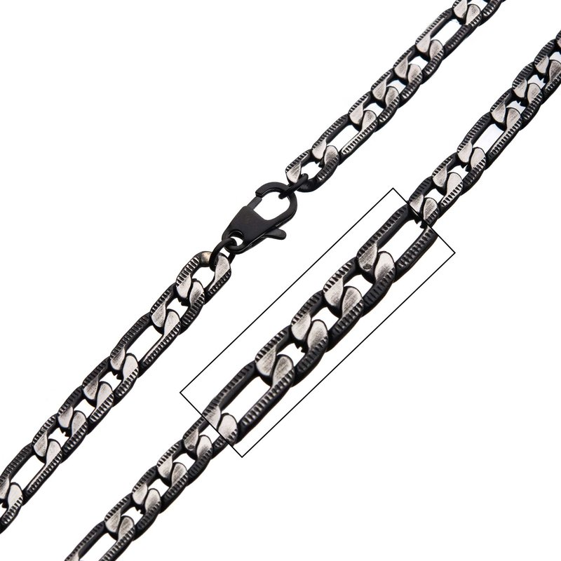 INOX Men's Jewelry Stainless Steel Black Plated Figaro Chain with Lobster Clasp