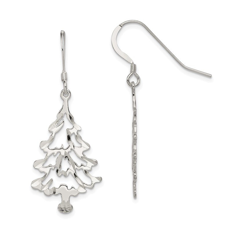 J.F. Kruse Signature Collection Sterling Silver Christmas Tree Earrings
