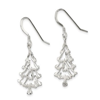 Sterling Silver Christmas Tree Earrings