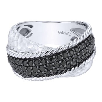 925 Silver Wide Dual Band Black Spinel Ring