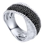 Gabriel Fashion 925 Silver Wide Dual Band Black Spinel Ring