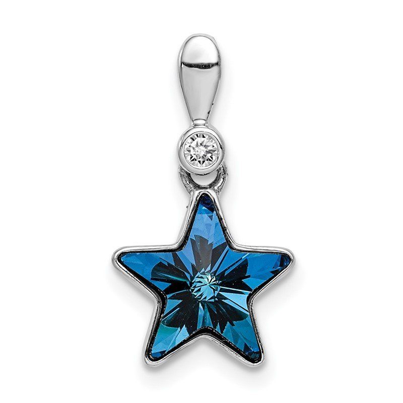 Quality Gold Sterling Silver Rhodium-plated Clear/Blue Crystal Star Pendant