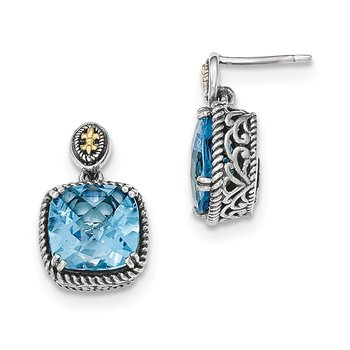 Sterling Silver w/14k Lt Swiss Blue Topaz Dangle Post Earrings