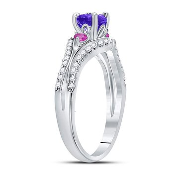 Sterling Silver Womens Round Lab-Created Amethyst Solitaire Pink Sapphire Ring 1.00 Cttw