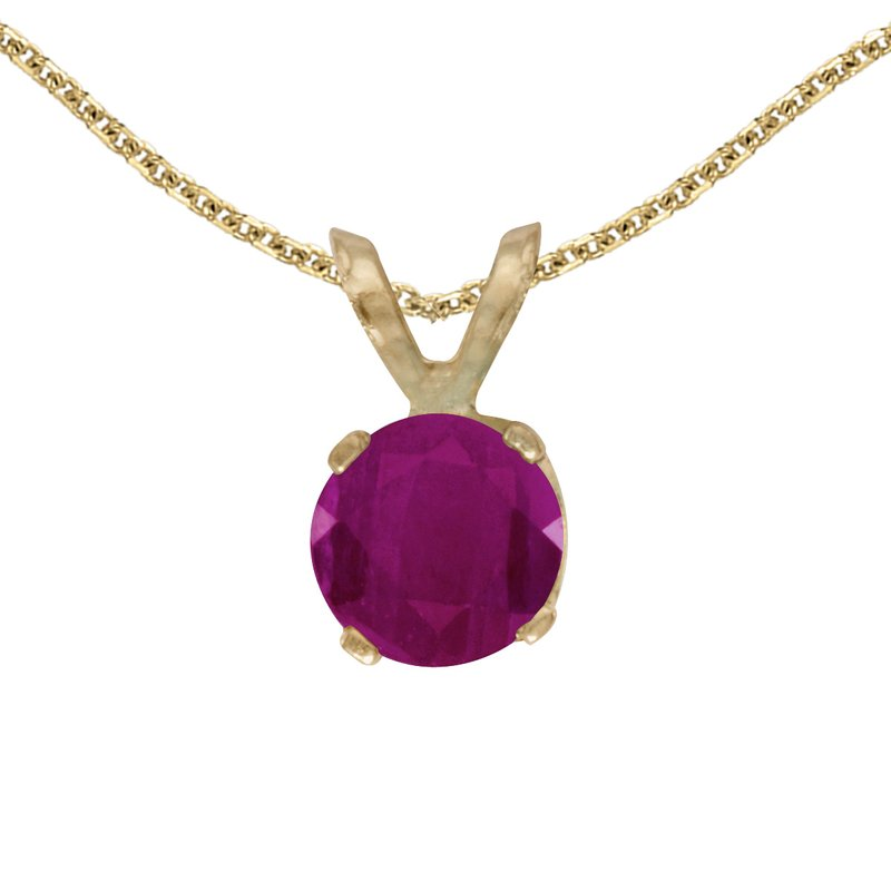 Color Merchants 14k Yellow Gold Round Ruby Pendant