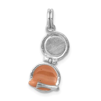 Sterling Silver Rhodium-platedEnamel Compact Makeup Mirror Charm