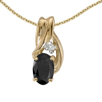 14k Yellow Gold Oval Onyx And Diamond Pendant