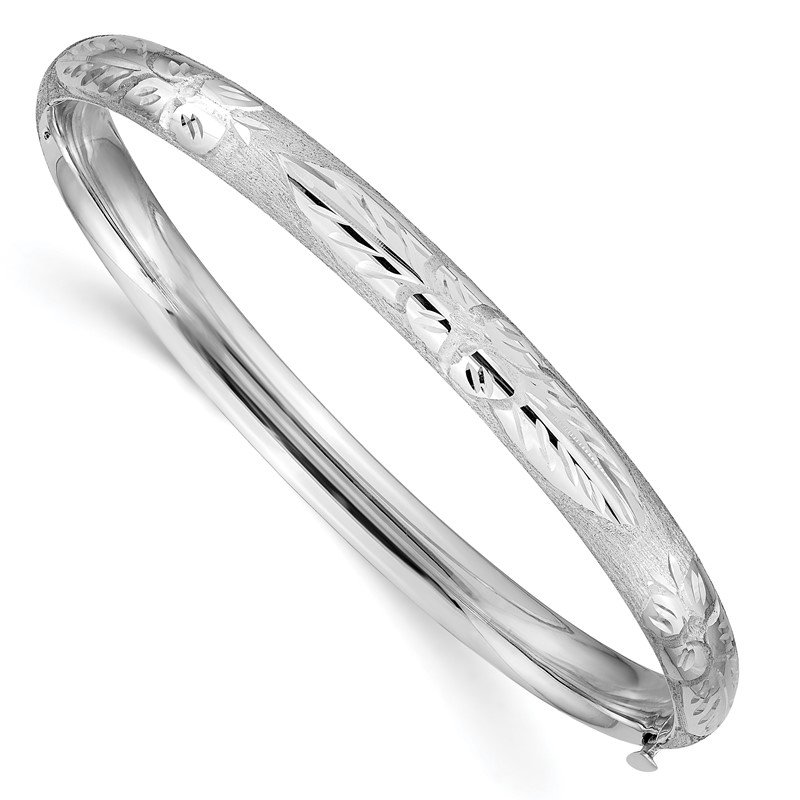 Quality Gold 14k 4/16 White Gold Florentine Engraved Hinged Bangle