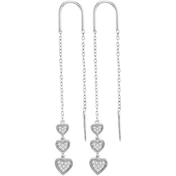 10kt White Gold Womens Round Diamond Triple Dangling Heart Threader Earrings 1/5 Cttw
