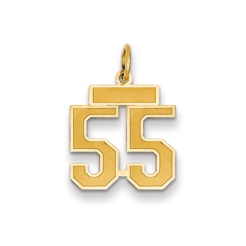 Quality Gold 14k Small Satin Number 55 Charm