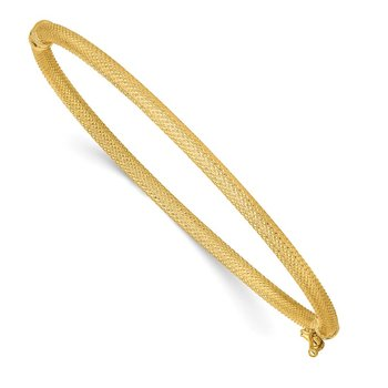 14k Textured Hinged Bangle Bracelet