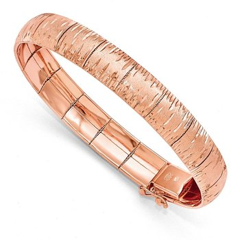 Leslie's Sterling Silver Rose Gold-plated D/C Scratch-Finish Bracelet