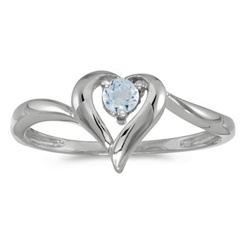 14k White Gold Round Aquamarine Heart Ring