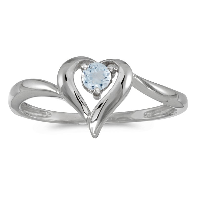 Color Merchants 14k White Gold Round Aquamarine Heart Ring