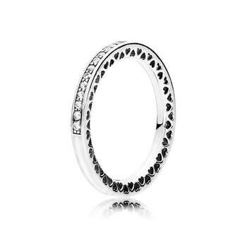 Radiant Hearts Of Pandora Ring, Silver Enamel Clear Cz