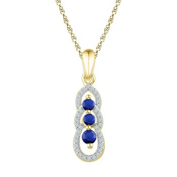 10kt Yellow Gold Womens Round Lab-Created Blue Sapphire 3-stone Pendant 1/2 Cttw