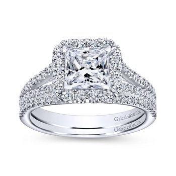 14K White Gold Princess Halo Diamond Engagement Ring
