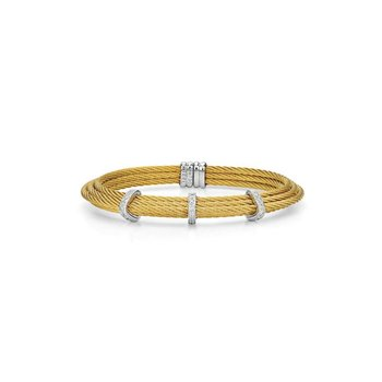 Yellow Cable Tiered Stackable Bracelet with Triple Diamond Station set in 18kt White Gold