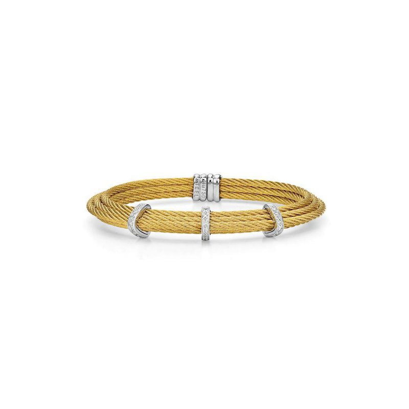 ALOR Yellow Cable Tiered Stackable Bracelet with Triple Diamond Station set in 18kt White Gold