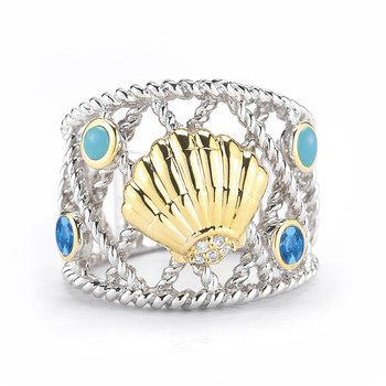 "Sterling Silver and 14K Yellow Gold Sea Shell Ring with Diamonds and Semi-Precious Stones 3/4"" wide on top"