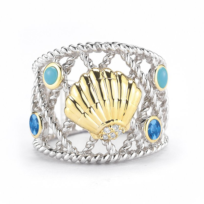 "Shula NY Sterling Silver and 14K Yellow Gold Sea Shell Ring with Diamonds and Semi-Precious Stones 3/4"" wide on top"