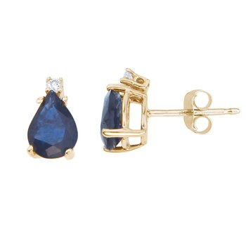 14k Yellow Gold Pear Shape Sapphire And Diamond Earrings