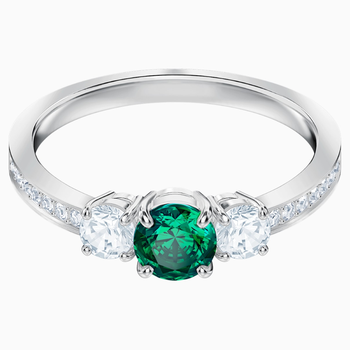 Attract Trilogy Round Ring, Green, Rhodium plated