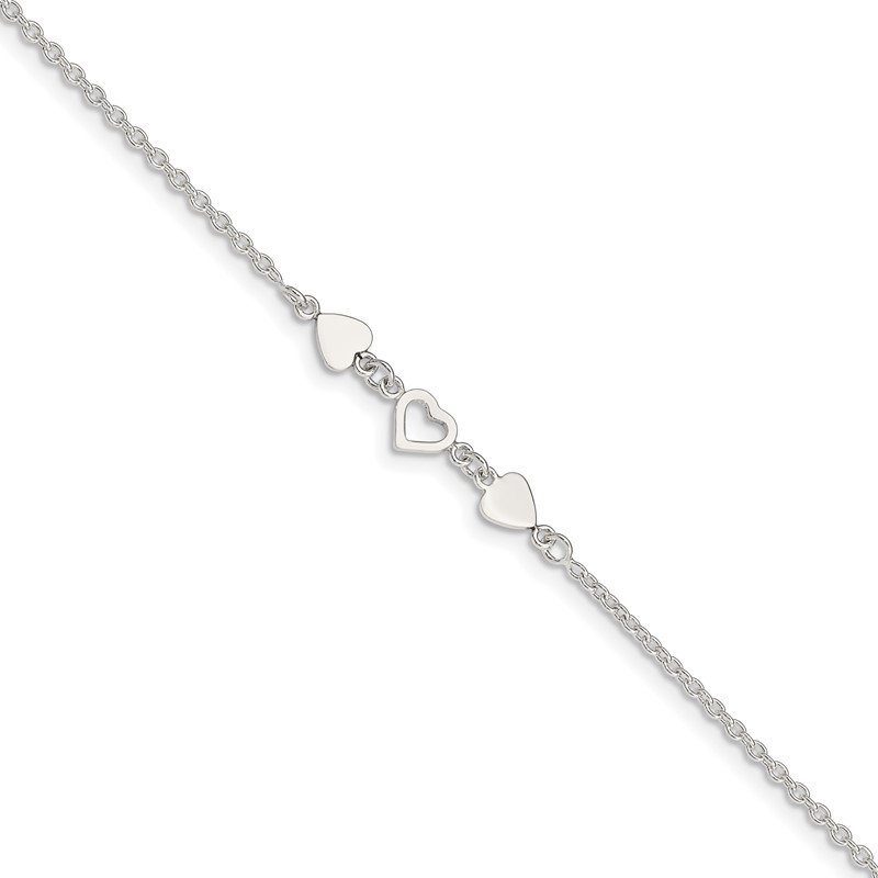 Quality Gold Sterling Silver 8 inch Plus 1in ext.Heart Link Anklet