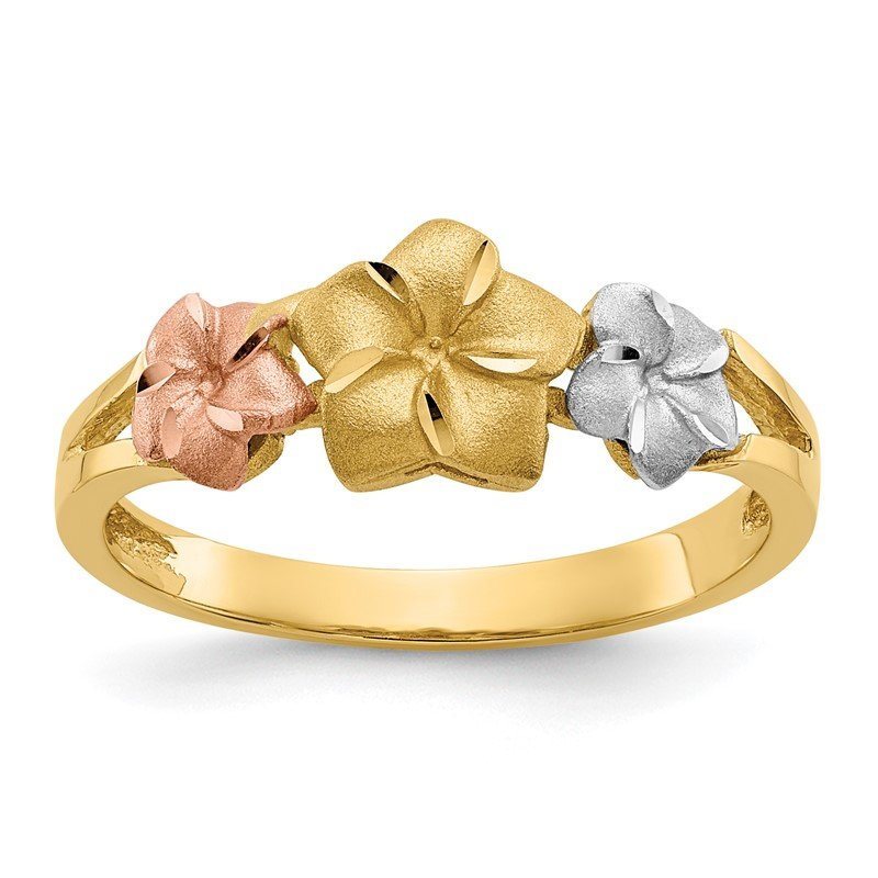 Quality Gold 14k Tri-color Plumeria Ring