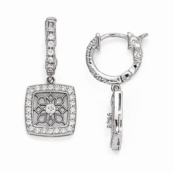 Sterling Silver Rhodium Plated CZ Hinged Hoop Dangle Square Snowflake Earri