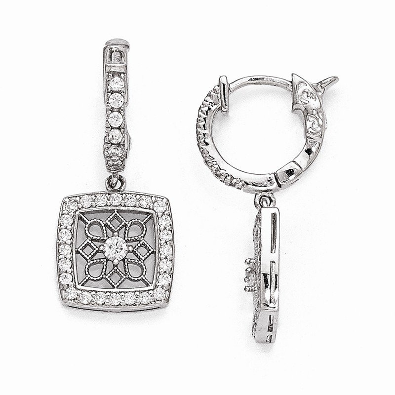 Quality Gold Sterling Silver Rhodium Plated CZ Hinged Hoop Dangle Square Snowflake Earri