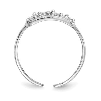 14k White Gold CZ Toe Ring