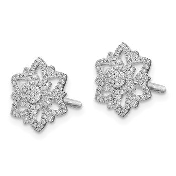 Sterling Silver Rhodium Diam. Flower Screwback Post Earrings