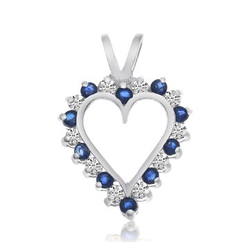 14k White Gold Sapphire and Diamond Heart Pendant