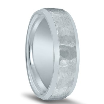 Men's Hammered Wedding Band N16732 with Bright Edges