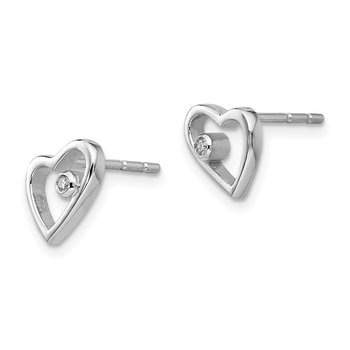 SS White Ice .02ct Diamond Heart Earrings