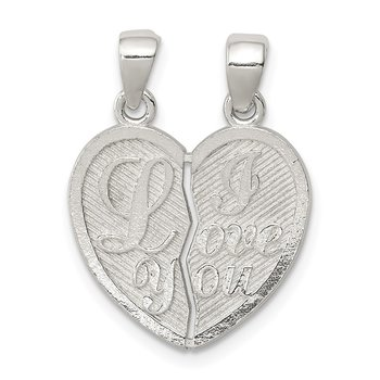 Sterling Silver Polished Mini I Love You Break Apart Heart Pendant