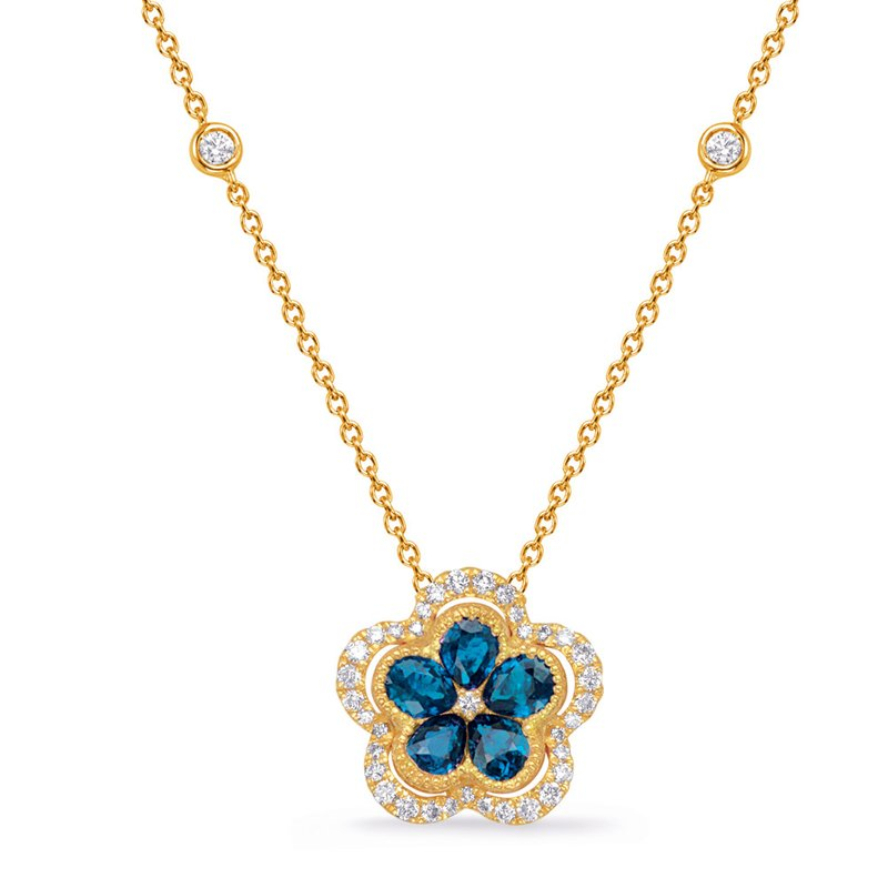 S. Kashi  & Sons Yellow Gold Diamond & Sapphire Necklace