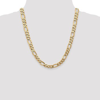14k 8.75mm Flat Figaro Chain