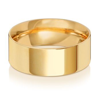 9Ct Yellow Gold 8mm Flat Court Wedding Ring