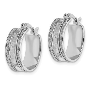 Sterling Silver Rhodium-plated Glitter Infused Hoop Earrings