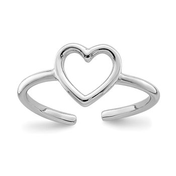 Sterling Silver Rhodium-plated Polished Heart Toe Ring