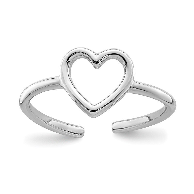 Quality Gold Sterling Silver Rhodium-plated Polished Heart Toe Ring