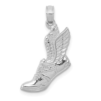 14k White Gold Polished Running Shoe Pendant