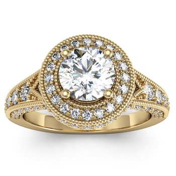 Antique Round Diamond Halo Engagemant Ring