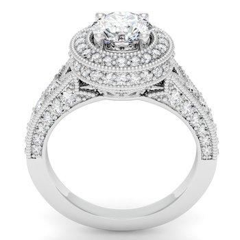 Antique Round Diamond Halo Engagemant Ring