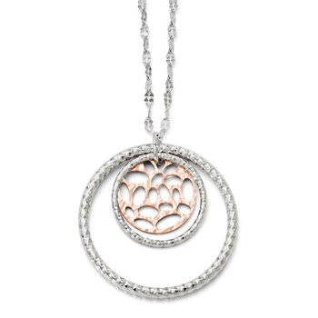 Leslie's Sterling Silver Rose-tone Flash Plated Necklace w/2in ext