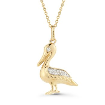 "Beautiful 14K Pelican Pendant with 0.06 Diamonds, 18"" Chain 3/4"" long by 1/2"" wide"