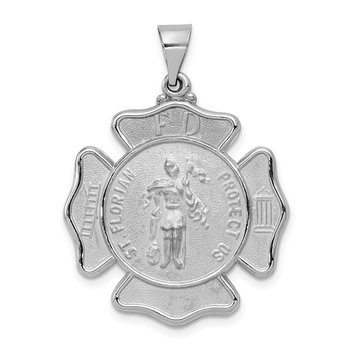 14k White Gold Polish/Satin St Florian Badge Medal Hollow Pendant
